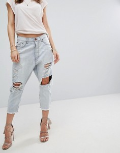 Рваные джинсы заниженного кроя One Teaspoon Kingpins - Синий