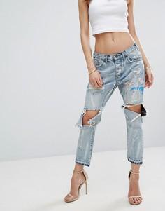 Рваные джинсы бойфренда с заниженной талией One Teaspoon Artiste Saints - Синий