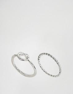 2 кольца на мизинец ASOS - Серебряный