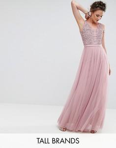 Платье макси для выпускного с цветочной аппликацией Little Mistress Tall - Розовый