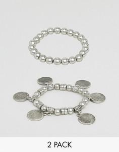 Комплект из 2 браслетов с подвесками-монетками ASOS - Серебряный