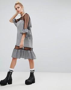 Свободное платье в клетку с сетчатыми вставками The Ragged Priest - Черный