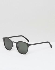 Круглые солнцезащитные очки в черной матовой оправе Komono Hollis - Черный