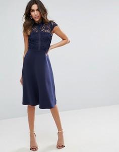 Приталенное платье миди с высоким воротом кружевным топом ASOS - Темно-синий