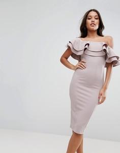 Фактурное платье миди с открытыми плечами и двойной оборкой ASOS - Бежевый