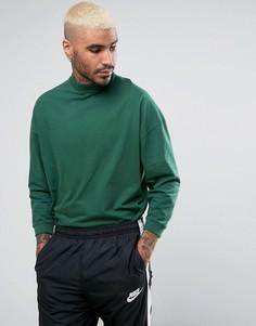 Свободная зеленая футболка с высоким воротом ASOS - Зеленый