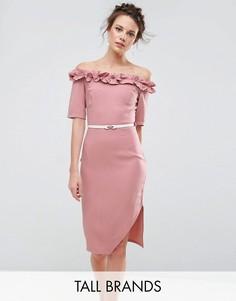 Платье-футляр с открытыми плечами и рюшами Paper Dolls Tall - Розовый
