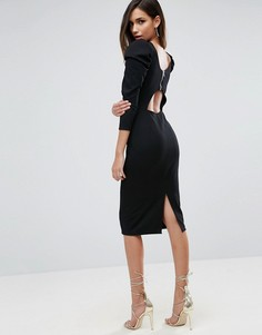 Платье миди с пышными рукавами и вырезом на спине ASOS - Черный