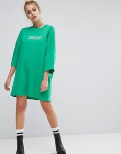 Свободное платье-футболка с принтом The Ragged Priest - Зеленый