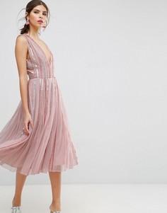 Приталенное платье миди из сетки со свободной юбкой и пайетками ASOS SALON - Розовый