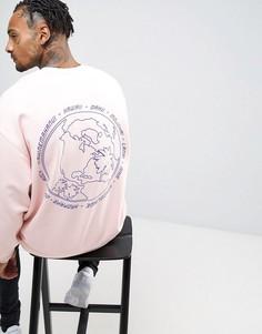 Свободный свитшот с принтом ASOS - Розовый