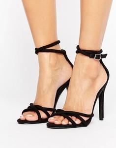 Черные босоножки на каблуке с узелками Public Desire - Черный