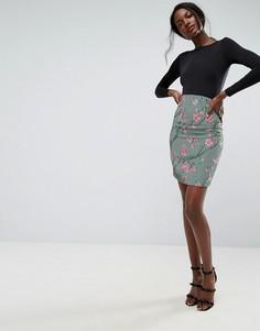 Мини-юбка с завышенной талией в стиле корсета и принтом ASOS - Мульти