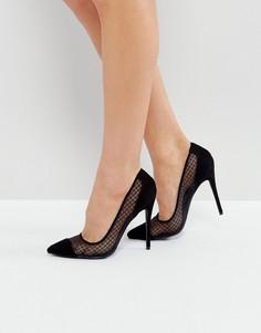 Черные туфли-лодочки на каблуке с сетчатой вставкой Public Desire - Черный