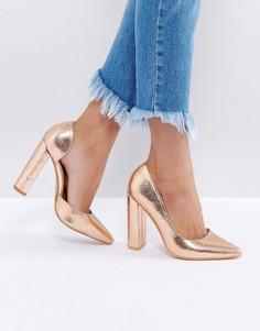 Туфли-лодочки цвета розового золота на блочном каблуке Public Desire - Золотой
