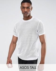 Белая сетчатая футболка ASOS TALL - Белый