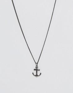 Ожерелье с подвеской-якорем Simon Carter - Серебряный