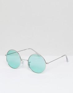 Большие круглые солнцезащитные очки со стеклами мятного цвета Jeepers Peepers - Зеленый