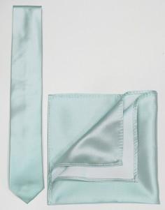 Набор из голубого галстука и платка для нагрудного кармана ASOS - Зеленый
