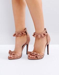 Розовые босоножки с рюшами на каблуке Public Desire - Розовый