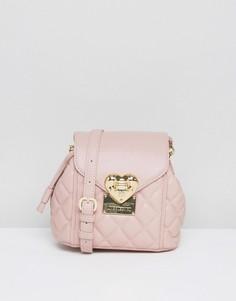 Стеганая сумка через плечо Love Moschino - Розовый
