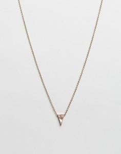 Серебристое ожерелье с треугольной подвеской Icon Brand - Золотой