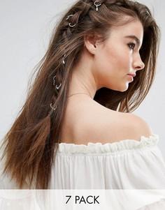 Серебристые кольца для волос Johnny Loves Rosie - Серебряный