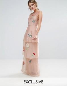 Ярусное платье макси с цветочной вышивкой Hope & Ivy - Розовый
