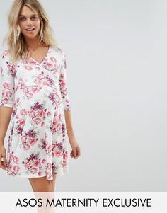 Платье с запахом и цветочным принтом ASOS Maternity NURSING - Белый