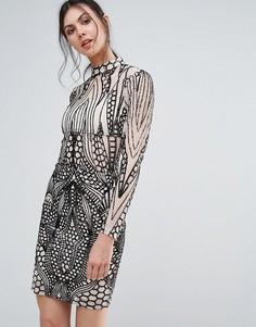 Облегающее платье с высоким воротом Girl In Mind - Мульти