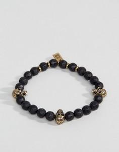 Черный браслет из бусин с черепом Icon Brand - Черный