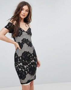 Кружевное платье миди с широким вырезом и бретельками Girl In Mind - Черный