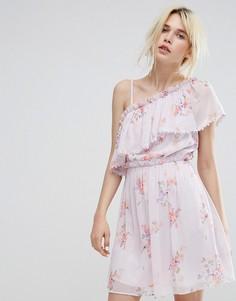 Приталенное платье с асимметричной оборкой Miss Selfridge - Фиолетовый