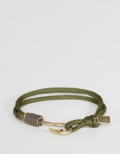 Браслет-шнурок цвета хаки с крючком Icon Brand - Зеленый