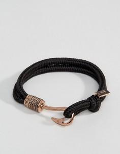 Черный браслет-шнурок с крючком Icon Brand - Черный