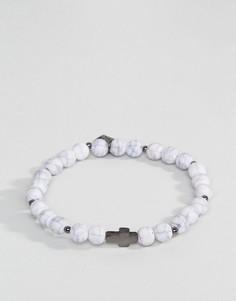 Белый браслет с бусинами и крестом Icon Brand - Белый
