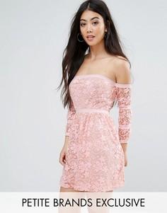 Кружевное короткое приталенное платье Boohoo Petite - Розовый