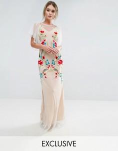 Платье макси с вышивкой и расклешенными рукавами Hope & Ivy - Белый