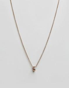 Золотисто-розовое ожерелье с подвеской в виде кольца Icon Brand - Золотой