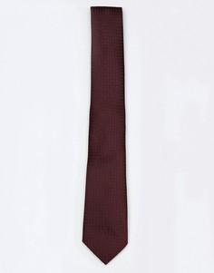 Узкий фактурный галстук бордового цвета ASOS - Красный