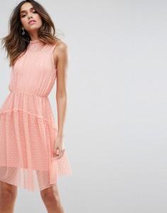 Приталенное платье мини с бретельками ASOS - Розовый