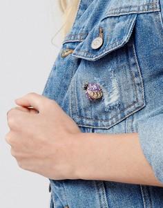 Брошь ограниченной серии в виде жука с декоративной отделкой - Фиолетовый Asos