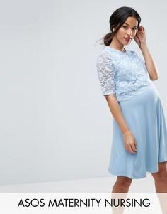 Короткое приталенное платье в два слоя с кружевом ASOS Maternity NURSING - Синий