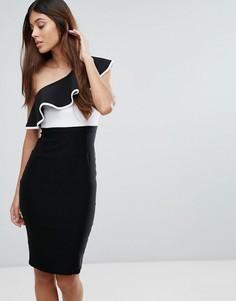 Монохромное платье-футляр на одно плечо с оборкой Vesper - Мульти