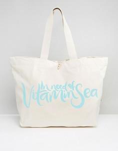 Дорожная сумка-тоут с принтом In Need Of Vitamin Sea Crazy Haute - Кремовый