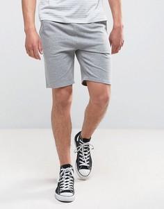 Серые меланжевые трикотажные шорты зауженного кроя ASOS - Серый