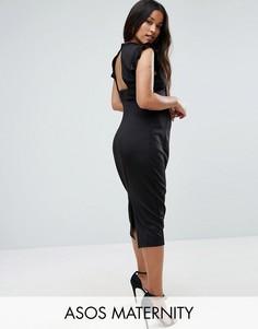 Платье-футляр с вырезом на спине и отделкой на плечах ASOS Maternity - Черный