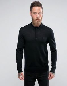 Трикотажная футболка-поло из 100% мериносовой шерсти AllSaints - Черный