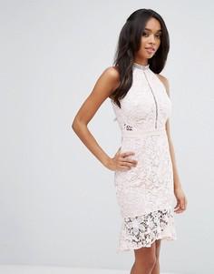 Кружевное платье-футляр с оборкой Lipsy - Розовый