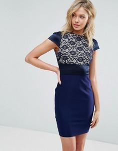Платье-футляр с кружевной вставкой Vesper - Темно-синий